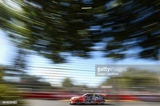 James Courtney drives the Holden Racing Team Holden during race three for the V8 Supercars Clipsal 500 at Adelaide Street Circuit on March 1 2015 in...