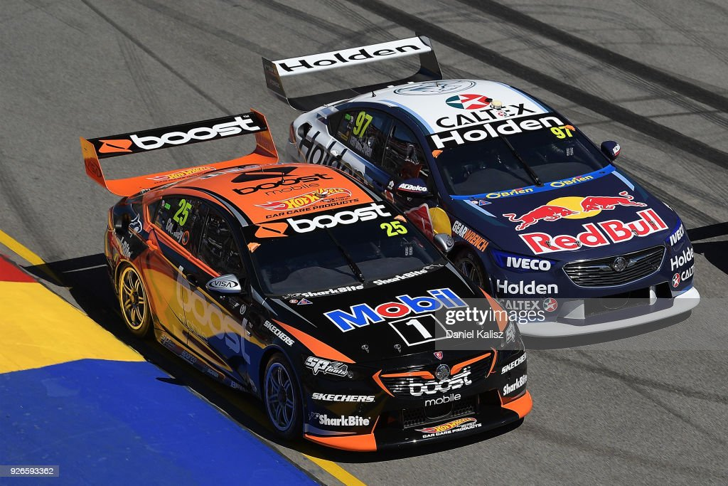 James Courtney drives the #25 Mobil 1 Boost Mobile Racing Holden Commodore ZB and Shane Van Gisbergen drives the #97 Red Bull Holden Racing Team Holden Commodore ZB battle during race 1 for the Supercars Adelaide 500 on March 2, 2018 in Adelaide, Australia.