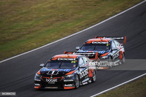 James Courtney drives the Mobil 1 Boost Mobile Racing Holden Commodore ZB and Scott Pye drives the Mobil 1 Boost Mobile Racing Holden Commodore ZB...