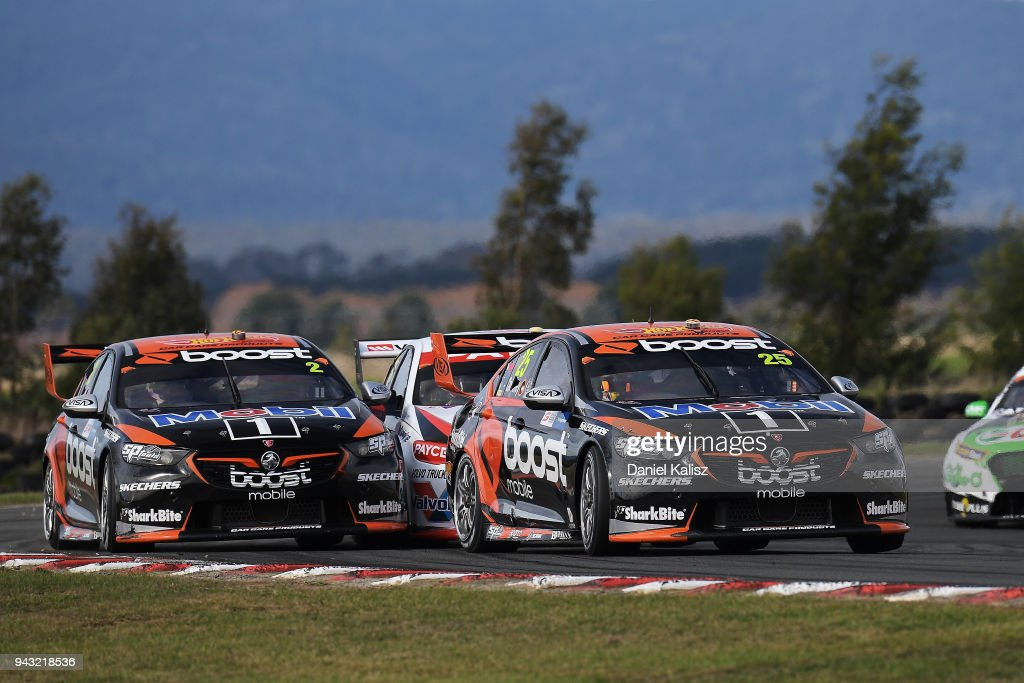 James Courtney drives the #25 Mobil 1 Boost Mobile Racing Holden Commodore ZB leads Scott Pye drives the #2 Mobil 1 Boost Mobile Racing Holden Commodore ZB during race 2 for the Supercars Tasmania SuperSprint on April 8, 2018 in Hobart, Australia.