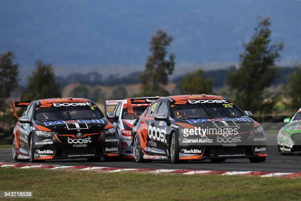 James Courtney drives the Mobil 1 Boost Mobile Racing Holden Commodore ZB leads Scott Pye drives the Mobil 1 Boost Mobile Racing Holden Commodore ZB...
