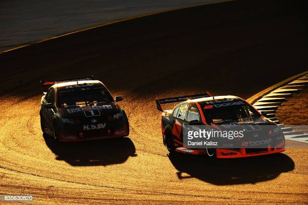 James Courtney drives the Mobil 1 HSV Racing Holden Commodore VF and Scott Pye drives the Mobil 1 HSV Racing Holden Commodore VF are pictured during...