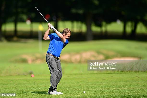 James Cousins of Darlington Golf Club tees off on the 4th hole during the PGA ProCaptain North Qualifier at Rudding Park on August 30 2016 in...