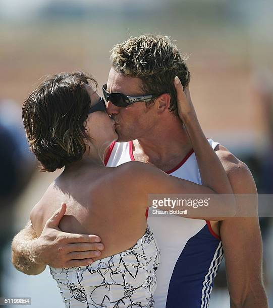 James Cracknell of Great Britain kisses his wife Beverly Turner after receiving his Gold medal for the men's four rowing event on August 21 2004...