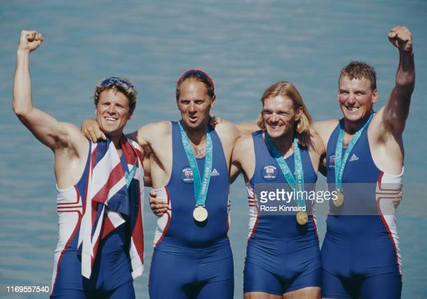 LR James Cracknell Steve Redgrave Tim Foster and Matthew Pinsent of Great Britain celebrate winning gold the Men's Coxless Four Rowing Final on 23rd...