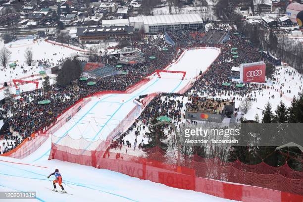 James Crawford of Canada competes during the Hahnenkamm Rennen Audi FIS Alpine Ski World Sup Men's Downhill at Streif on January 25 2020 in...