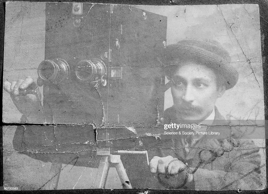 James Crawley operating a Friese-Greene camera. : News Photo
