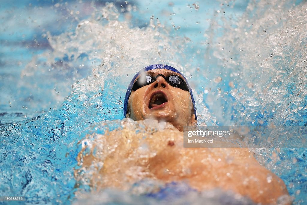 James Crisp of GB competes in the heats of the Men's 100m Backstroke S9 during Day One of The IPC Swimming World Championships at Tollcross Swimming Centre on July 13, 2015 in Glasgow, Scotland.