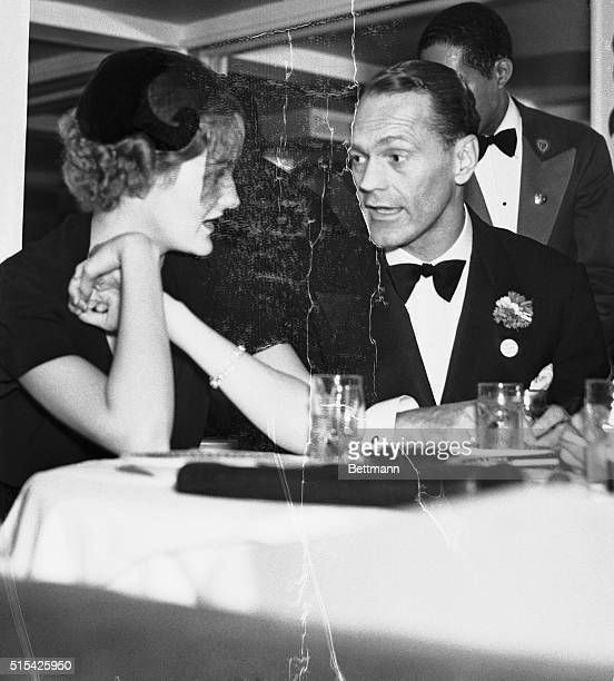 James Cromwell and his wife the former Doris Duke speaking together at New York's Cotton Club November 3 1936