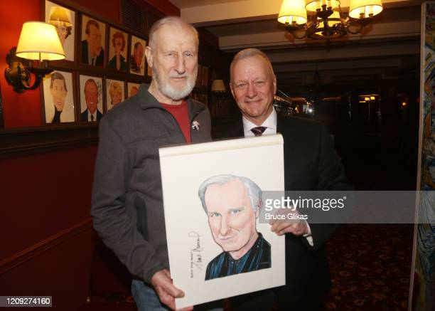 James Cromwell and Sardis Max Klimavicius pose as Sardis honors James Cromwell with his caricature for his performance in broadway's Grand Horizons...