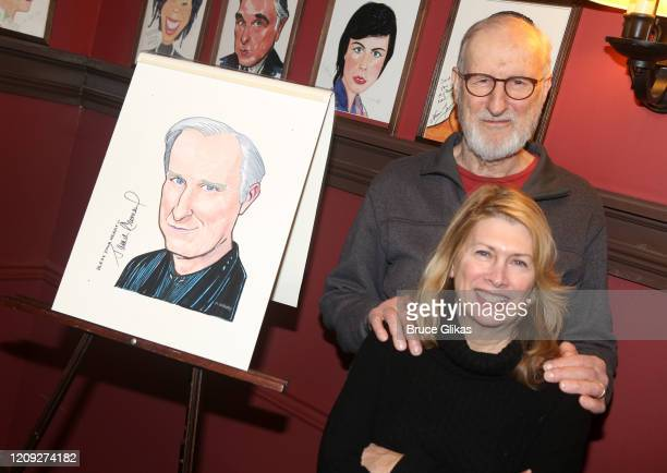 James Cromwell and Second Stage Artistic Director Carole Rothman pose as Sardis honors James Cromwell with his caricature for his performance in...