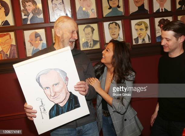James Cromwell Ashley Park and Ben McKenzie pose as Sardis honors James Cromwell with his caricature for his performance in broadway's Grand Horizons...