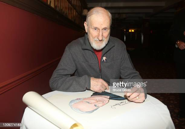 James Cromwell poses as Sardis honors James Cromwell with his caricature for his performance in broadway's Grand Horizons at Sardi's on February 27...