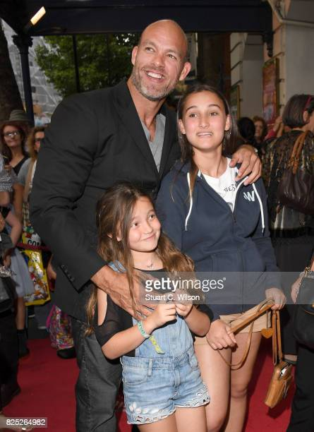 James Crossley and family attends David Walliams Gangsta Granny West End press night at the Garrick Theatre on August 1 2017 in London England