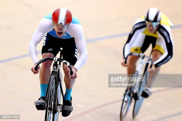 James Cuff of West Coast North Island and Lee Evans of Wellington compete in the Elite Men Sprint Qualifying during the New Zealand Track Cycling...
