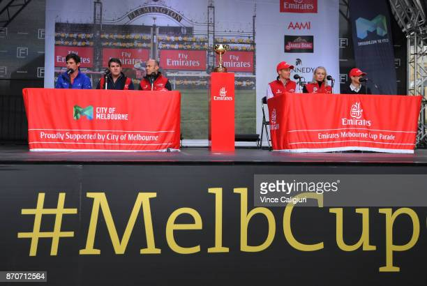 James Cummings Hugo Palmer Olivier Peslier Blake Shinn Kathy O'Hara and Craig Williams are seen at the official press conference after the 2017...