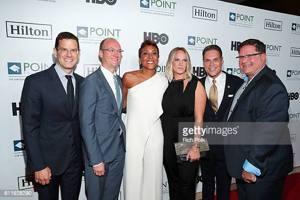James Cummings Justin Mohatt honoree Robin Roberts Amber Laign CEO of Point Foundation Jorge Valencia and Ray Johnson arrive at Point Foundation's...