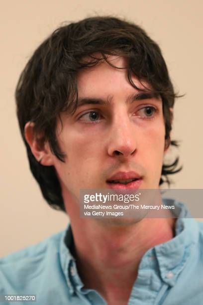 James Damore a former Google employee who wrote a controversial diversity memo appears alongside attorney Harmeet Dhillon during a press conference...