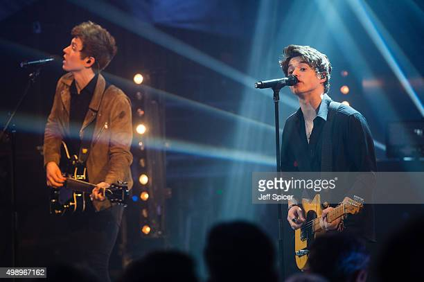 James Daniel McVey Brad Simpson from The Vamps during a live broadcast of 'TFI Friday' on November 27 2015 in London England