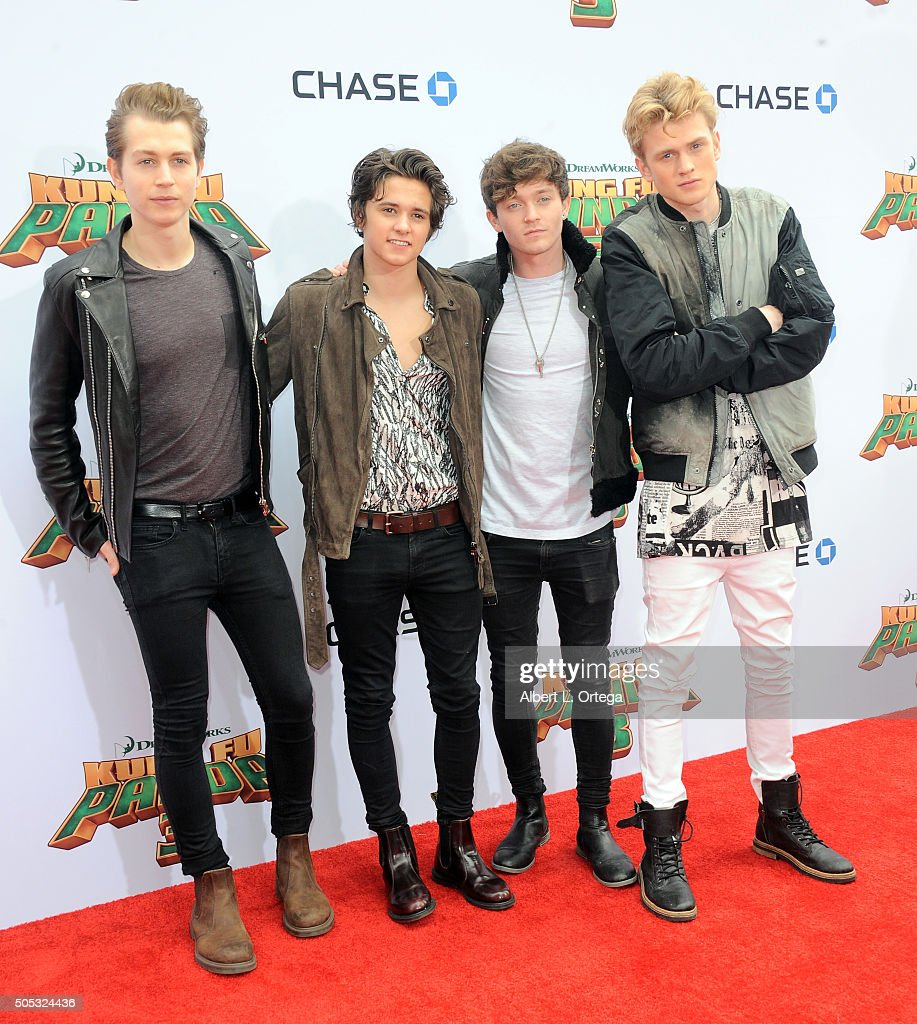 James Daniel McVey, Bradley Simpson, Connor Ball and Tristan Evans of The Vamps arrive for the premiere of DreamWorks Animation and Twentieth Century Fox's 'Kung Fu Panda 3' held at TCL Chinese Theatre on January 16, 2016 in Hollywood, California.