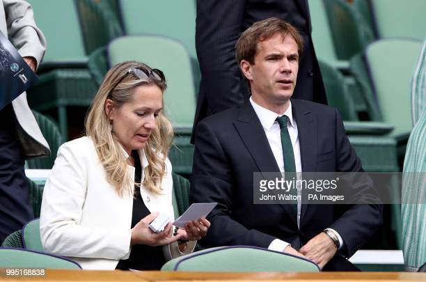 James D'Arcy in the royal box on centre court on day eight of the Wimbledon Championships at the All England Lawn Tennis and Croquet Club Wimbledon