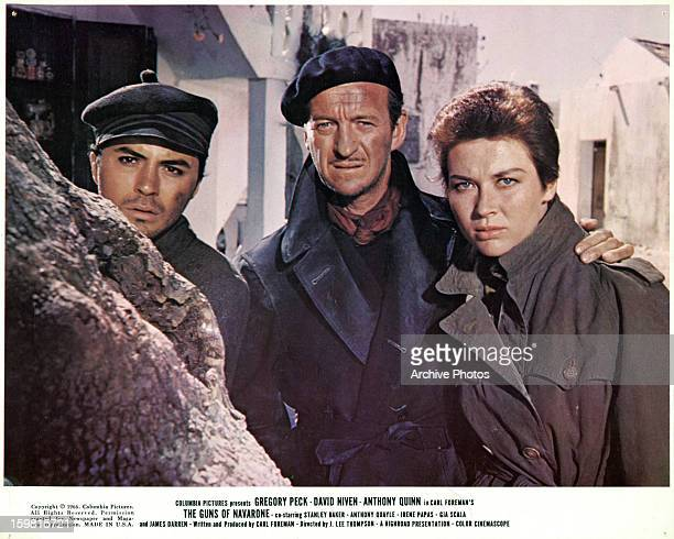 James Darren and David Niven along with Gia Scala in a scene from the film 'The Guns Of Navarone' 1961