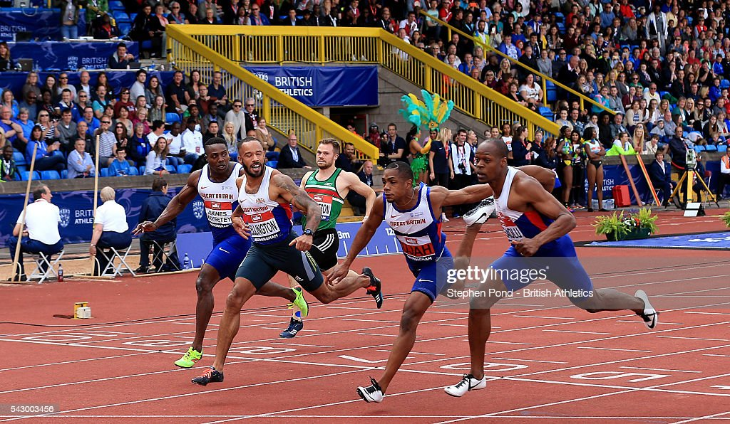 James Dasaolu, James Ellington and CJ Ujah finish first, second and third in the mens 100m during day two of the British Championships Birmingham at Alexander Stadium on June 25, 2016 in Birmingham, England.