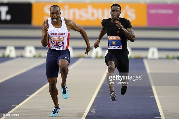 James Dasaolu of Great Britain and Dwain Chambers of the Commonwealth compete in the Men's 60 metres sprint during the British Athletics...