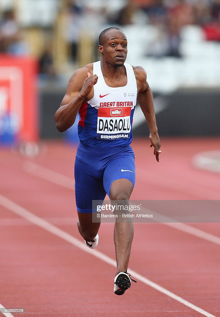 James Dasaolu of Great Britain competes in the men's 100m heats on day two of the British Championships Birmingham at Alexander Stadium on June 25, 2016 in Birmingham, England.