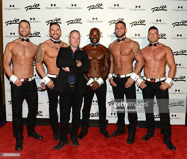 James Davis, Mikey Perez, Michael Caprio, Tyson Beckford, Matt Marshall and Nathan Minor pose for photos on Tyson Beckford's opening night with...