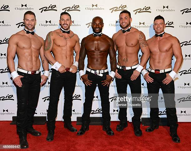James Davis, Mikey Perez, Tyson Beckford, Matt Marshall and Nathan Minor pose for photos on Tyson Beckford's opening night with Chippendales at Rio...