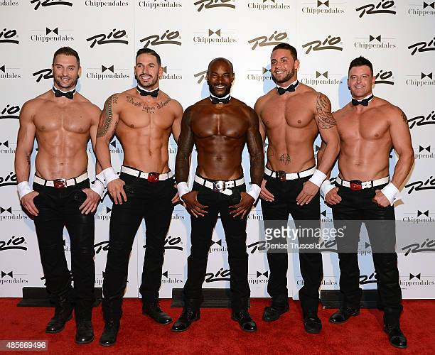James Davis Mikey Perez Tyson Beckford Matt Marshall and Nathan Minor pose for photos on Tyson Beckford's opening night with Chippendales at Rio...