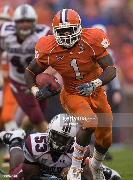 James Davis of the Clemson Tigers breaks free for this touchdown run against the South Carolina Gamecocks at Memorial Stadium on November 29 2008 in...