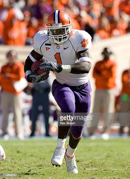 James Davis of the Clemson Tigers carries for a first down against the Duke Blue Devils during the second half at Wallace Wade Stadium on November 3,...