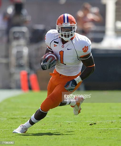 James Davis of the Clemson Tigers picks up a first down against the NC State Wolfpack at Carter Finley Stadium on September 22, 2007 in Raleigh,...