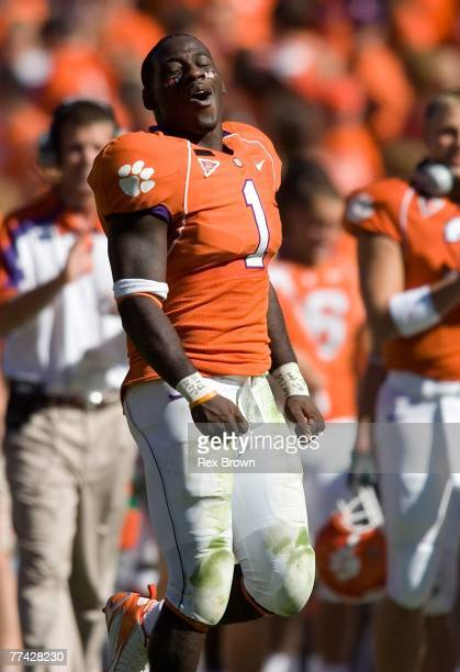James Davis of the Clemson Tigers reacts after a second half touchdown against the Central Michigan Chippewas at Memorial Stadium on October 20 2007...