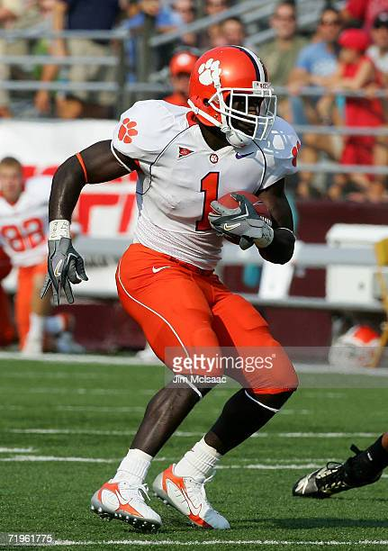 James Davis of the Clemson Tigers runs the ball against the Boston College Eagles during their Atlantic Coast Conference game at Alumni Stadium on...