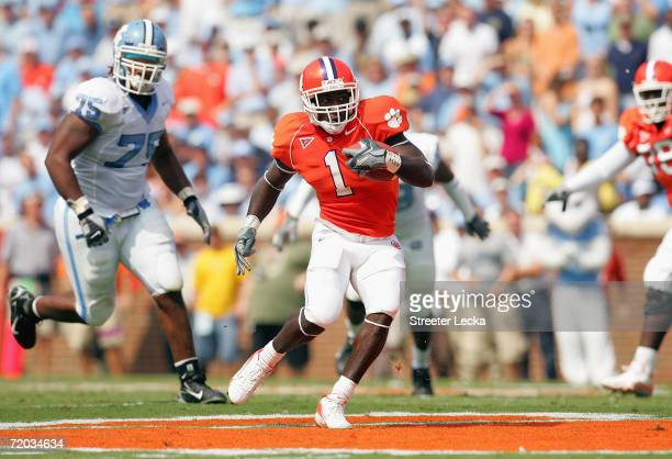 James Davis of the Clemson Tigers runs with the ball during their game against the University of North Carolina Tar Heels on September 23 2006 at...