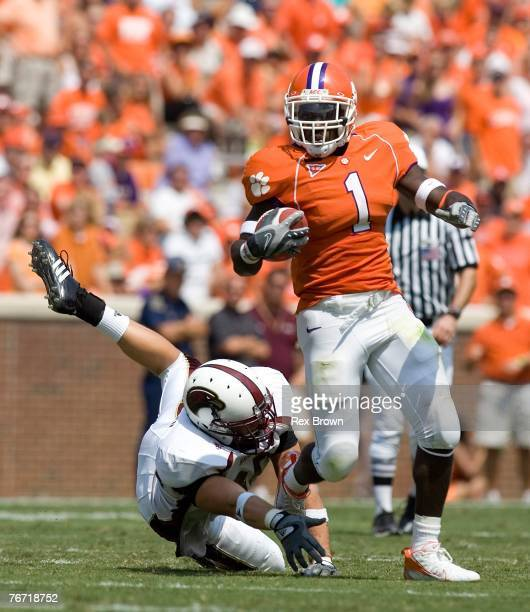 James Davis of the Clemson Tigers works to break free from Jameson Jordan of the LouisianaMonroe Warhawks at Memorial Stadium on September 8 2007 in...