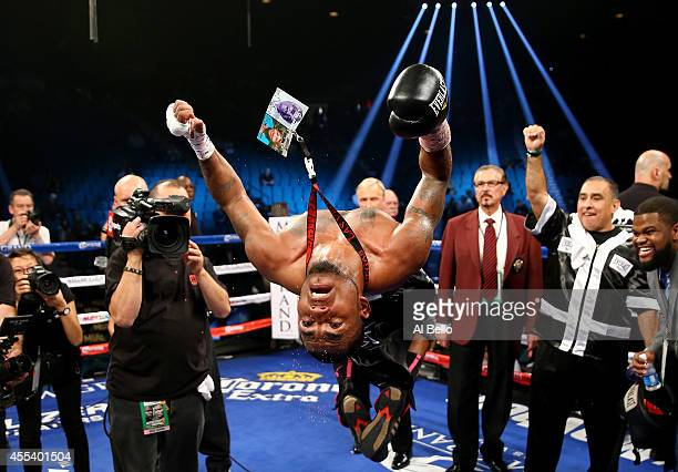 James De la Rosa celebrates his victory against Alfredo Angulo during their middleweight fight at the MGM Grand Garden Arena on September 13 2014 in...