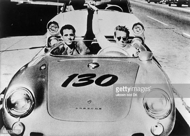 James Dean american acotr With Rolf Wuetherich in a 550 Prosche Spyder 1950s