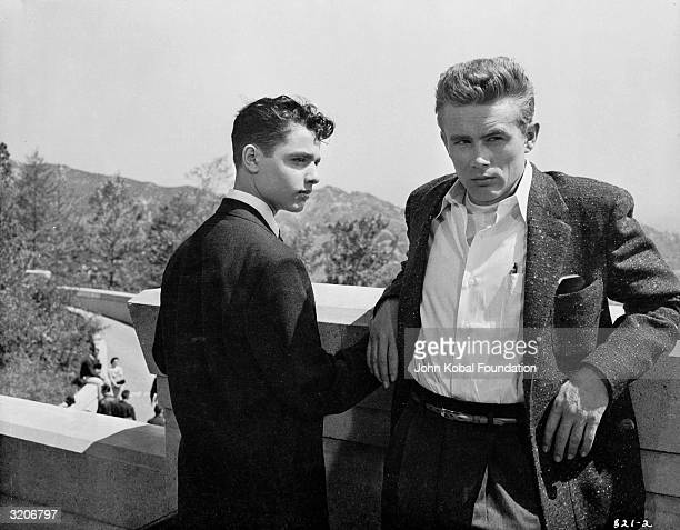 James Dean as Jim Stark and Sal Mineo playing Plato in a scene from 'Rebel Without A Cause'