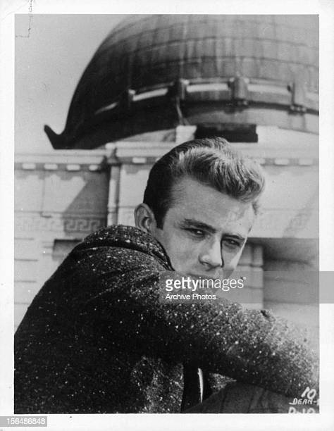 James Dean at Griffith Park Observatory in publicity portrait for the film 'Rebel Without A Cause' 1955