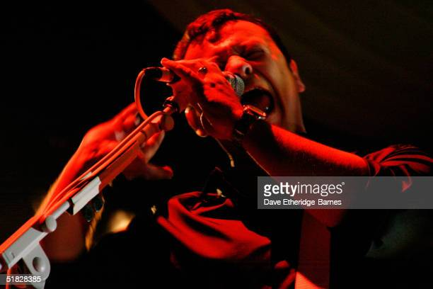 James Dean Bradfield of the Manic Street Preachers performs on stage at the Brighton Centre on December 4 2004 in Brighton The Brighton gig is the...