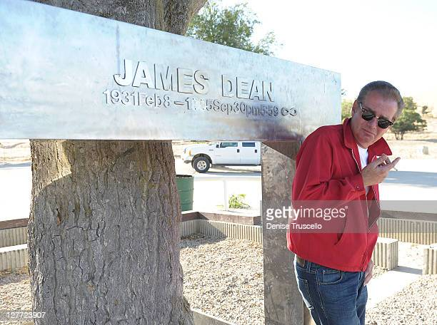 James Dean impersonator Scott Brimigion poses for photos in front of the James Dean Memorial The actor James Dean died 56 years ago on September 30...