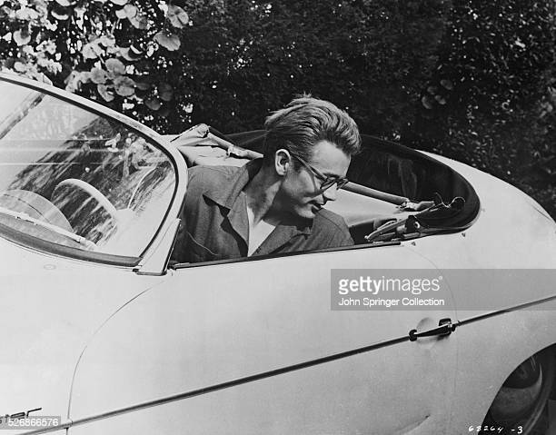 James Dean Seated in his Roadster
