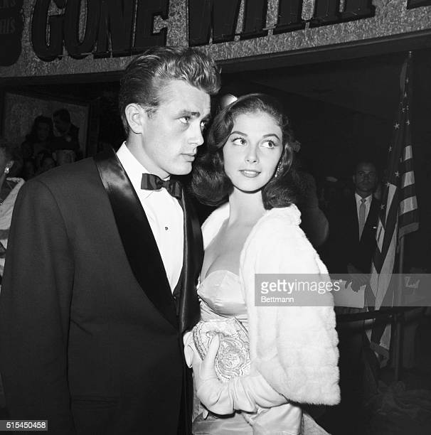 James Dean stands with Italian actress Pier Angeli