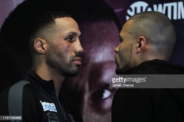 James DeGale and Chris Eubank Jr go 'headtohead' during a press conference ahead of their IBO World Super Middleweight Title fight at the...
