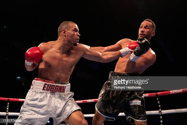 James Degale and Chris Eubank Jr trade punches during the IBO World Super Middleweight Title fight between James DeGale and Chris Eubank Jr at The O2...