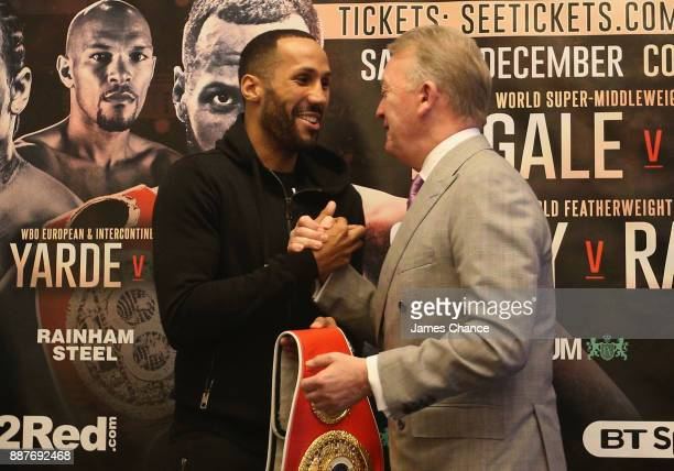James DeGale and Frank Warren shake hands during a Boxing Press Conference at The Landmark London on December 7 2017 in London England